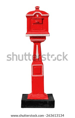 Red old-fashioned mailbox isolated on white background with clipping path - stock photo