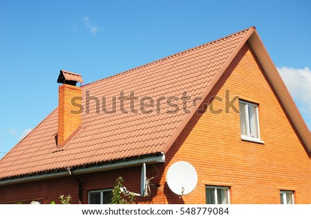 Red Old Metal House Roof Tiles. Metal Roof Shingles   Roofing Construction,  Chimney,