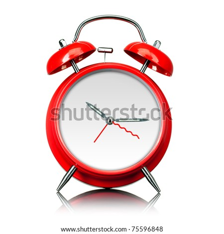 red old style alarm clock ready for setting time isolated on white - stock photo