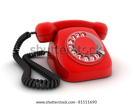 Red old telephone (done in 3d, isolated) - stock photo