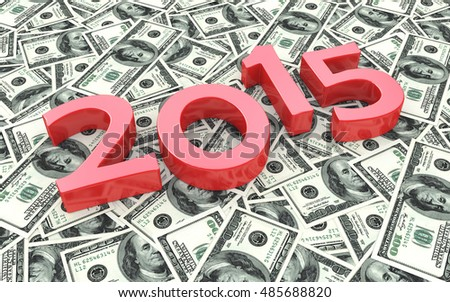 Red 2015 on the background of one hundred dollar bills in the design of the information related to finances. 3d illustration