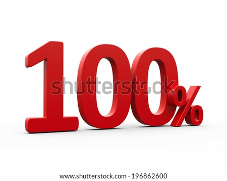 Red one hundred percent sign isolated on white background, three-dimensional rendering
