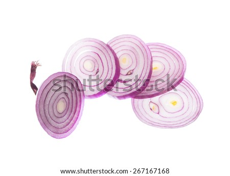 red onion rings isolated on white background - stock photo