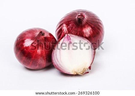 red onions on a white background. image suitable for restaurants, supermarkets, wholesalers, resellers onion products or health products based on red onion - stock photo