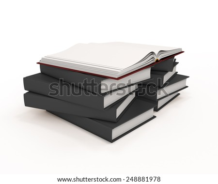 Red open book on stack of books with black covers isolated on white background. 3d render image. - stock photo