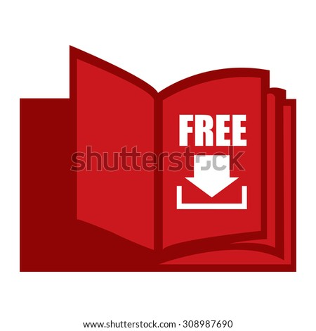 Red Open Book With Free Download Infographics Flat Icon, Sign Isolated on White Background - stock photo