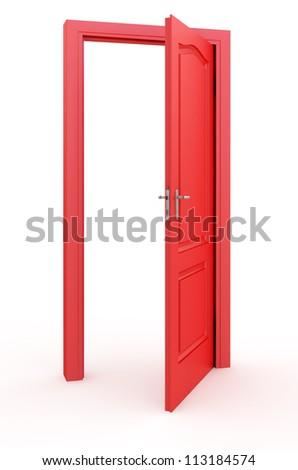 Red open doors - stock photo