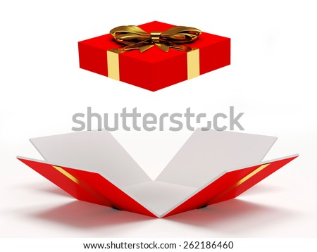 Red open gift box with golden ribbon and bow isolated on a white background - stock photo
