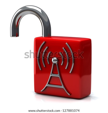 Red open padlock with wireless icon, 3d - stock photo