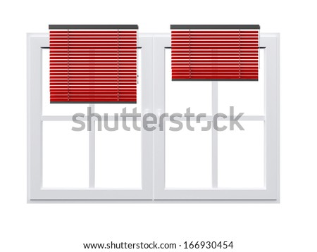 Red open striped curtains on closed windows, isolated on white background. - stock photo