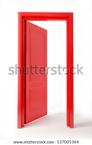 red opened door on white background - stock photo