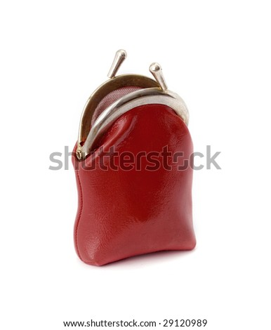 red opened purse isolated on white background - stock photo