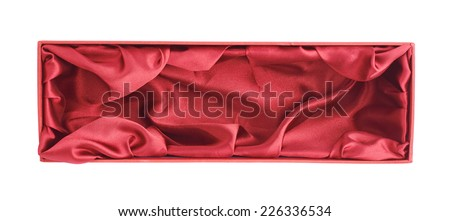 Red opened tall gift box with the velvet cloth inside, isolated over the white background - stock photo