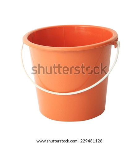 Red or orange plastic bucket isolated on white background - stock photo