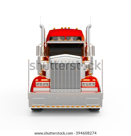 Red Orange american truck front view isolated on white background