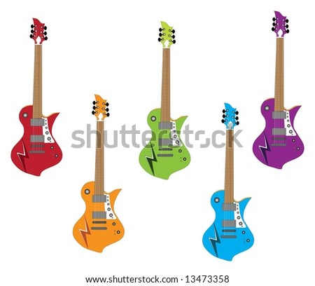 Red, orange, green, blue and purple electric guitars