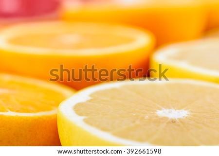 Red Oranges, Oranges And Grapefruit Citrus Fruit Slices - stock photo