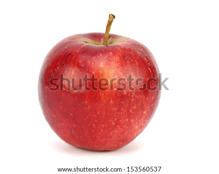 Red organic apple on a white background