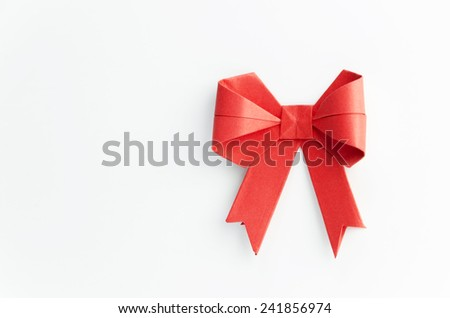 Red origami bow - stock photo