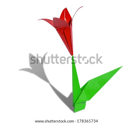 Red origami flower lily isolated on white - stock photo