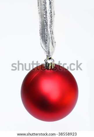 Red ornament on silver string