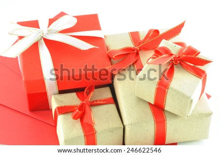 Red packet red gift box on stock photo 246622546 shutterstock red packet and red gift box on chinese new year concept negle Choice Image