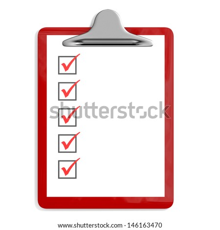 Red pad holder  with check boxes on white background. 3D illustration. - stock photo
