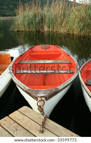 Red paddle boat on water