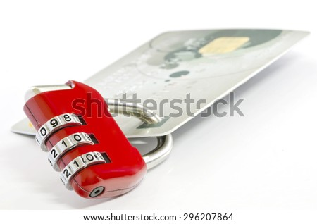 Red padlock and credit card,shallow DOF. - stock photo