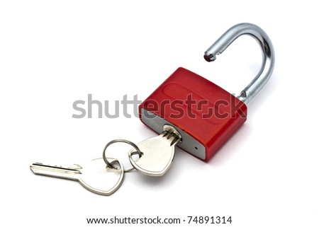 Red padlock and key closeup on white background - stock photo