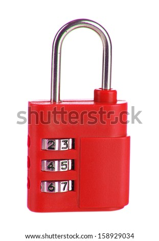Red padlock isolated on white - stock photo