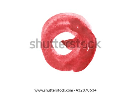 Red paint blotch on white background - stock photo