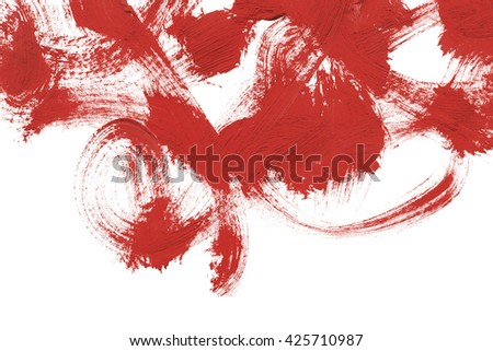 Red paint brush strokes isolated over white