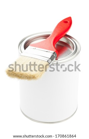 Red paint brush with paint bucket isolated on white background - home renovation or diy concept - stock photo