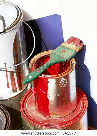 red paint can and brush - stock photo