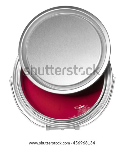 Red paint can and cover, isolated on white background