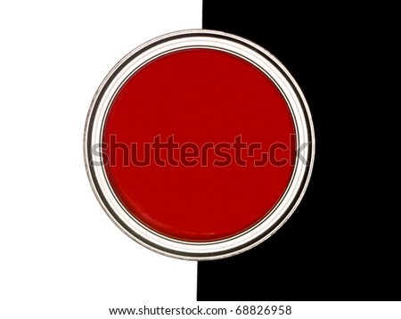 Red Paint can on black and white background - stock photo