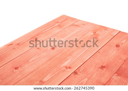 Red paint coated wooden pine boards as a copyspace background composition isolated over the white background - stock photo