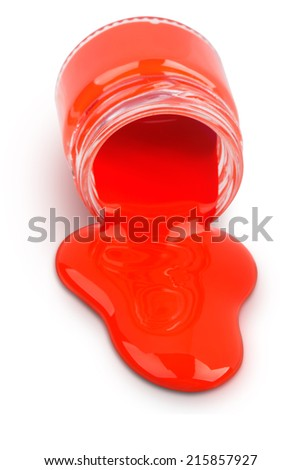 Red paint in a jar isolated on white background