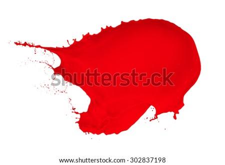 red paint splash isolated on white background - stock photo
