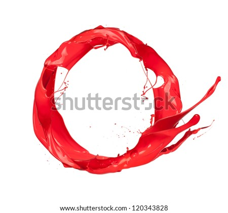 Red paint splashes circle, isolated on white background - stock photo