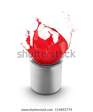 Red paint splashing out of can, isolated on white background - stock photo