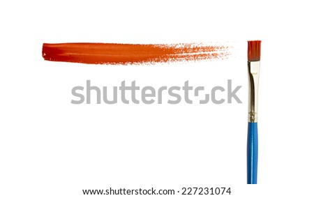 Red paint stroke isolated on white background.  - stock photo