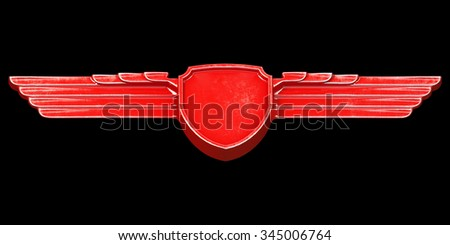 Red painted metal wings isolated on black background bottom view. 3d render - stock photo