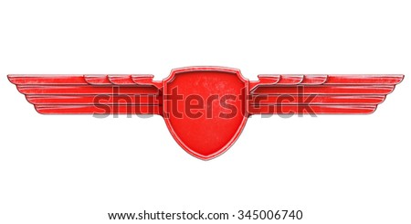 Red painted metal wings isolated on white background front view. 3d render - stock photo