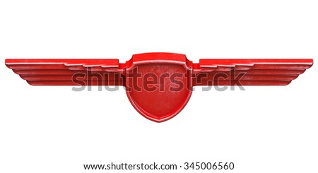 Red painted metal wings isolated on white background top view. 3d render - stock photo
