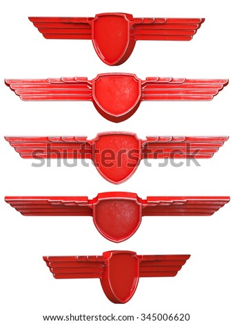 Red painted metal wings set isolated on white background. 3d render - stock photo