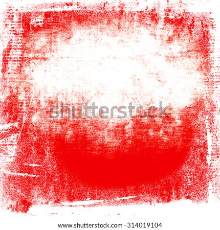 red painted wall paper texture grunge background, white and red polish flag colors and copy space - stock photo