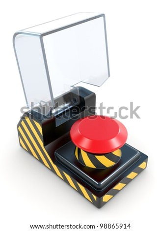 Red panic button. See my portfolio for more similar images. - stock photo