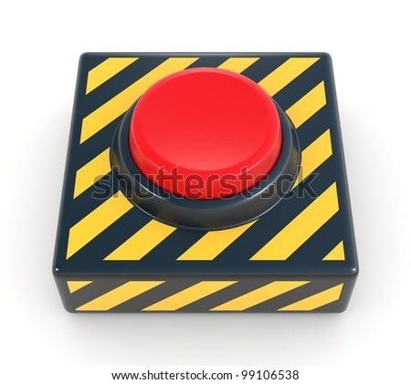 Red panic button. See my portfolio for more similar images - stock photo